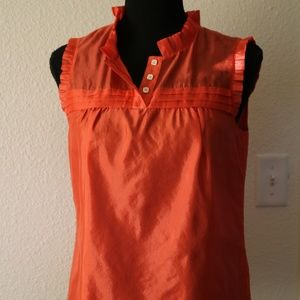 J. Crew 100% Silk Coral Top Ruffle Accents